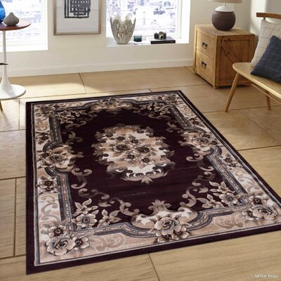 Burgundy/Beige Area Rug Rug Size: Rectangle 79 x 105