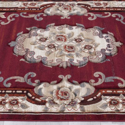 Red Area Rug Rug Size: 79 x 105
