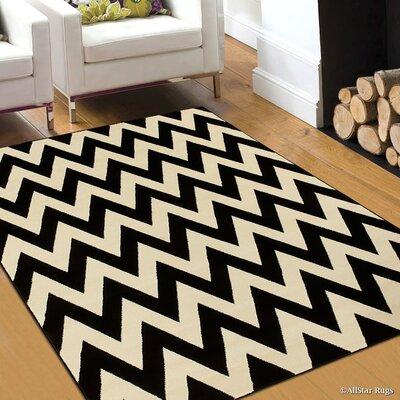 Black/Beige Area Rug Rug Size: 79 x 105