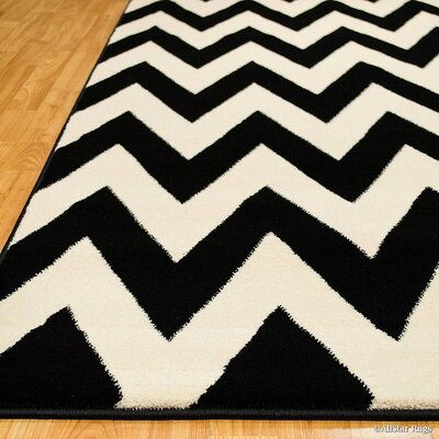 Black/Beige Area Rug Rug Size: Rectangle 52 x 72