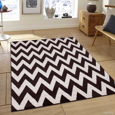 Chocolate/Beige Area Rug Rug Size: 79 x 105