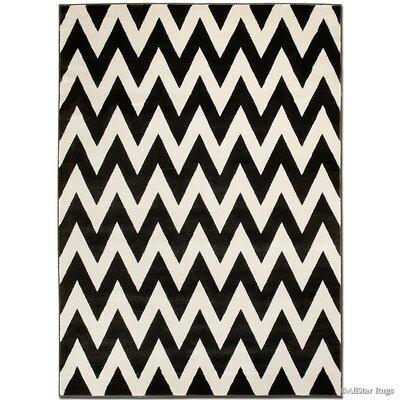 Beige/Black Area Rug Rug Size: 79 x 105