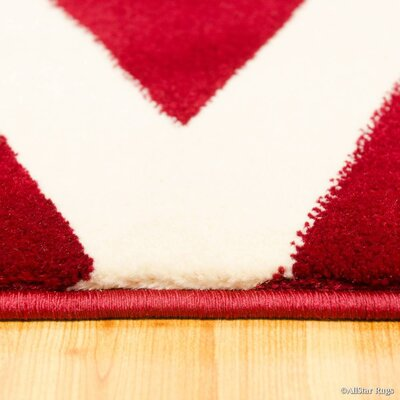 Red/Beige Area Rug Rug Size: Rectangle 52 x 72