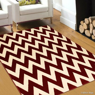 Red/Beige Area Rug Rug Size: 52 x 72
