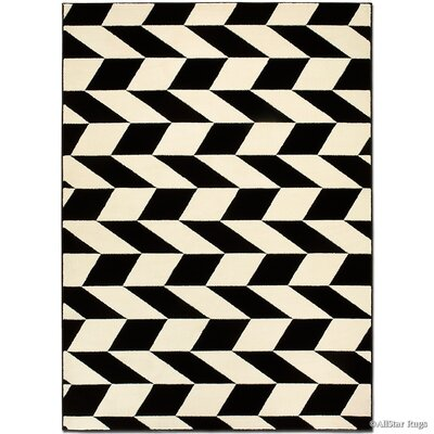 Black/Cream Area Rug Rug Size: Rectangle 39 x 51