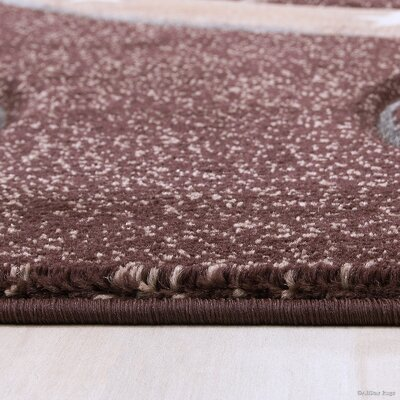 Hand-Tufted Brown Area Rug Rug Size: 7'9