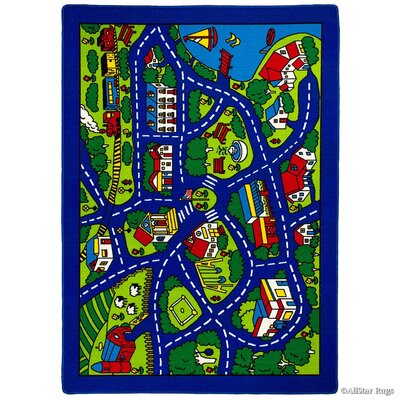 Street Map Blue/Green Area Rug Rug Size: Rectangle 73 x 102