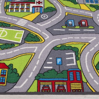 Street Map Green/Grey Area Rug Rug Size: 33 x 410