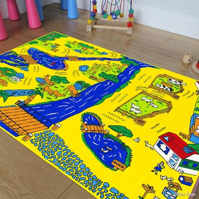 Blue/Yellow Area Rug Rug Size: 33 x 410