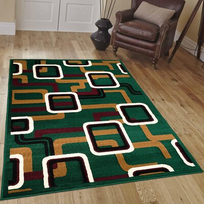 Hand-Woven Green Area Rug Rug Size: 5 x 7