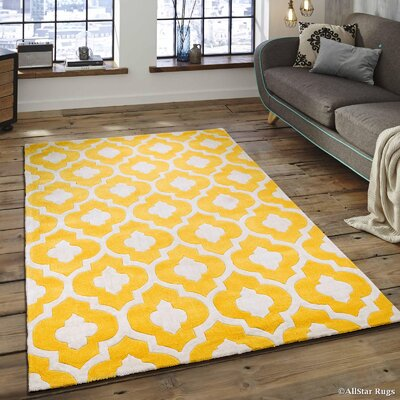 Hand-Tufted Yellow Area Rug