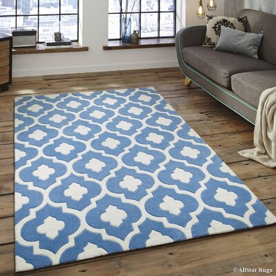 Hand-Tufted Sky Blue Area Rug