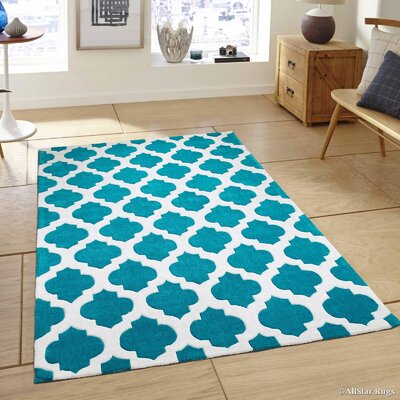 Hand-Tufted Turquoise Area Rug