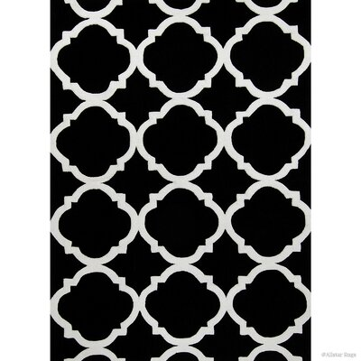 Hand-Woven Black Area Rug Rug Size: 77 x 106