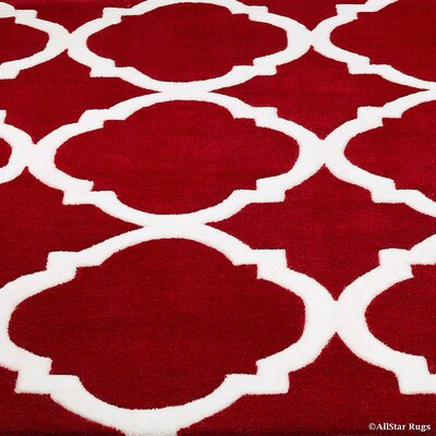 Handmade Red Area Rug Rug Size: 4'11
