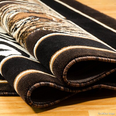 Hand-Woven Black/Brown Area Rug Rug Size: 710 x 102
