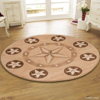 Hand-Woven Brown Area Rug Rug Size: Round 5
