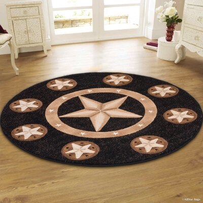 Hand-Tufted Black Area Rug Rug Size: Round 5