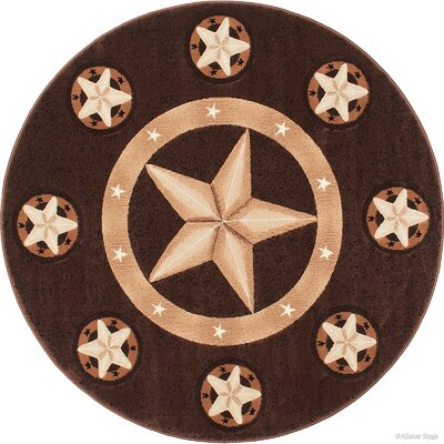 Hand-Tufted Chocolate Area Rug Rug Size: Round 5
