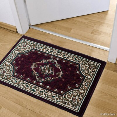 Andrews High-Quality Woven Floral Double Shot Drop-Stitch Carving Doormat Color: Burgundy
