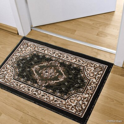 Andrews High-Quality Woven Floral Double Shot Drop-Stitch Carving Doormat Color: Green