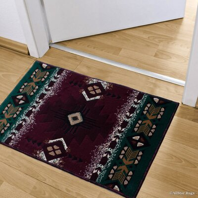 Iberide High-Quality Woven Native American Runner Double Shot Drop-Stitch Carving Doormat Color: Green