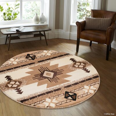 Hand-Woven Ivory/Brown Area Rug Rug Size: Round 5