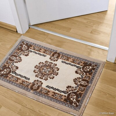 Andrews Rectangle Floral Bordered Doormat Color: Ivory