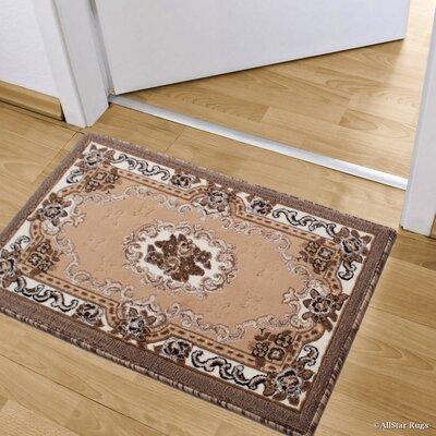 Andrews Floral Bordered Indoor Doormat Color: Berber