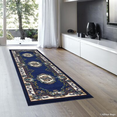 Andrews Vintage Floral Bordered Navy Area Rug