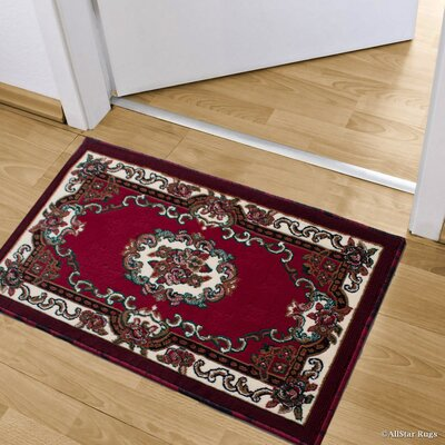Andrews Floral Bordered Indoor Doormat Color: Red