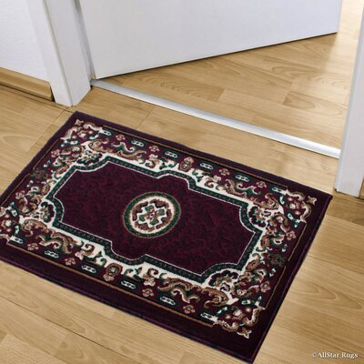Andrews Rectangle Floral Bordered Indoor Doormat Color: Burgundy