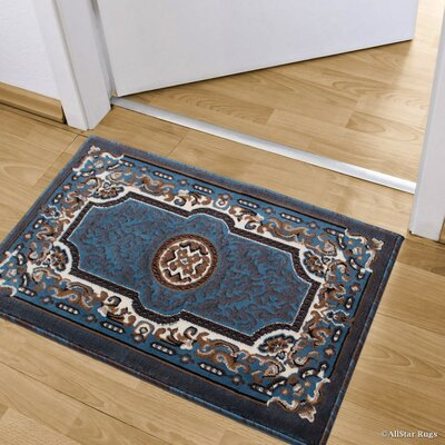 Andrews Rectangle Floral Bordered Indoor Doormat Color: Light Blue