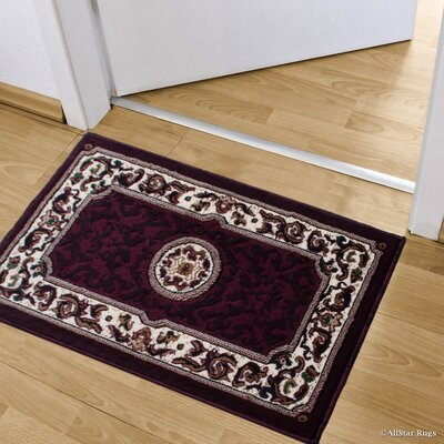 Andrews 18th Century Floral Bordered Doormat Color: Burgundy