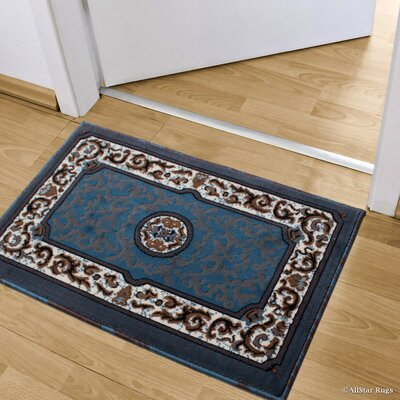 Andrews 18th Century Floral Bordered Doormat Color: Light Blue