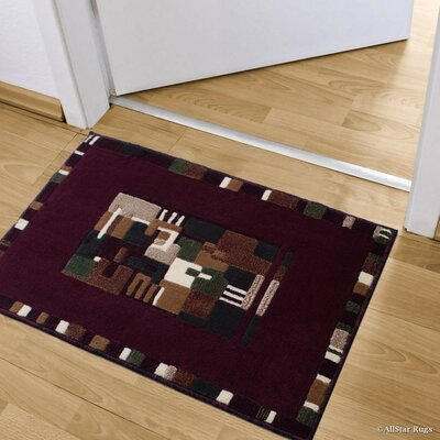 Kehl High-Quality Colorblock Design Double Shot Drop-Stitch Carving Doormat Color: Burgundy