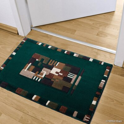 Kehl High-Quality Colorblock Design Double Shot Drop-Stitch Carving Doormat Color: Hunter Green