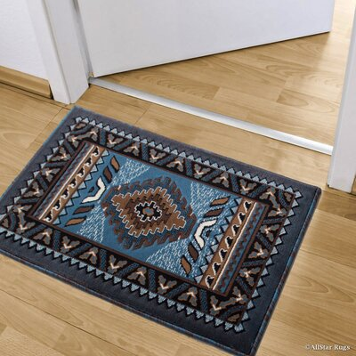Iberide High-Quality Woven Southwest Doormat Color: Light Blue