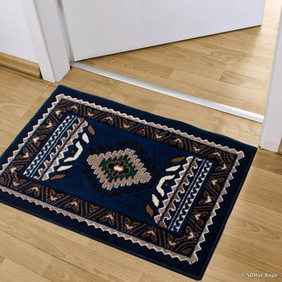 Iberide High-Quality Woven Southwest Doormat Color: Navy