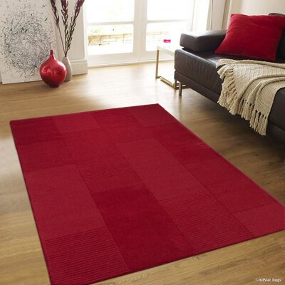 Irma High-Quality Wool Ultra Soft Solid Textured Red Area Rug