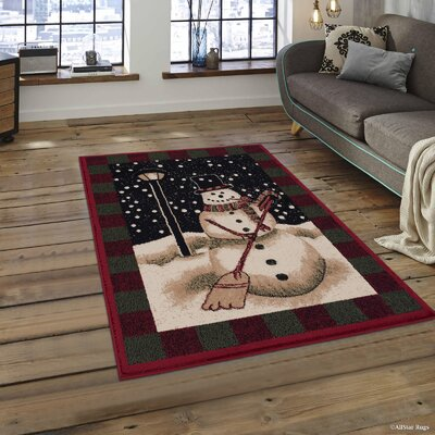 Holiday Christmas Snowman High Quality Woven Green Area Rug