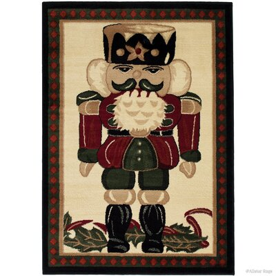 Holiday Christmas Nutcracker High-Quality Wover Red Area Rug
