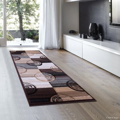 Circles Hand-Woven Chocolate Area Rug Rug Size: Runner 2 x 7