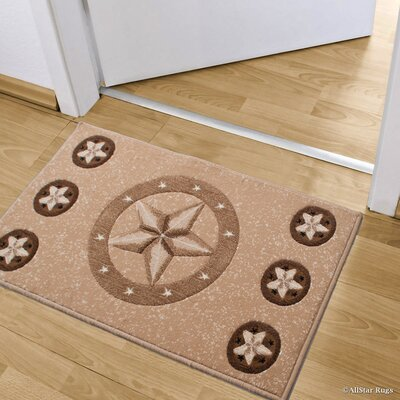 Luca Double Shot Drop-Stitch Carving Star Designed Doormat Color: Berber