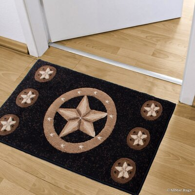 Luca Double Shot Drop-Stitch Carving Star Designed Doormat Color: Black