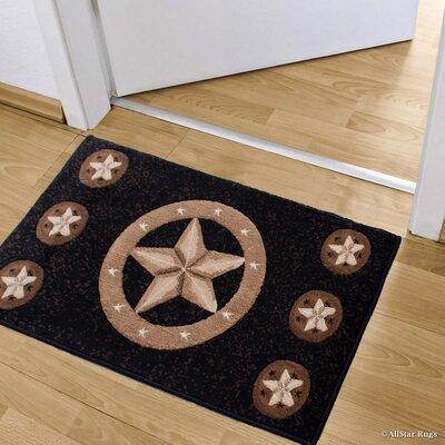 Luca Double Shot Drop-Stitch Carving Star Designed Doormat Color: Black