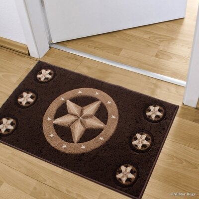 Luca Double Shot Drop-Stitch Carving Star Designed Doormat Color: Chocolate
