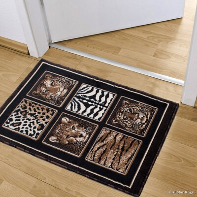 Hopkins High-Density Double Shot Drop-Stitch Bordered Exotic Animal Skin and Head Doormat