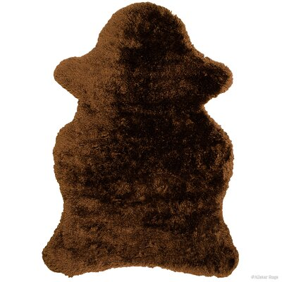 Hand-Tufted Chocolate Area Rug Rug Size: 5 x 7