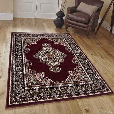 Hand-Woven Red Area Rug Rug Size: Rectangle 8 x 10